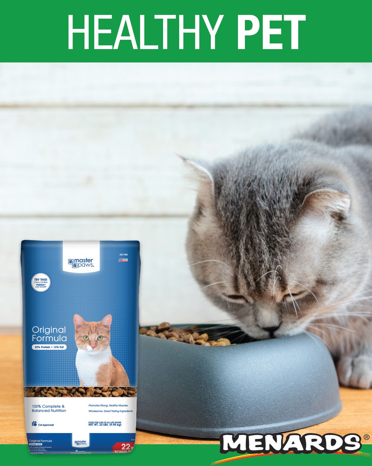 Master Paws® Original Formula Cat Food is ideal for adult