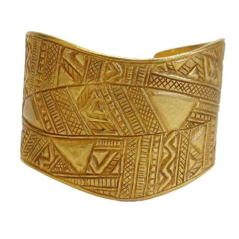 e6cb45c2d9c YSL YVES SAINT LAURENT Cuff Bracelet in Matte Gilded Metal For Sale