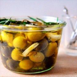 Homemade herbed olives