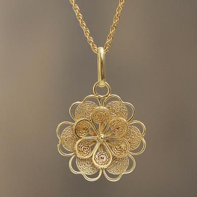 Gold Plated Silver Peruvian Filigree Flower Neckla