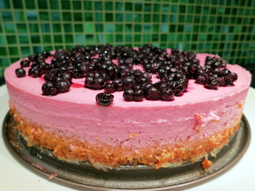 Lime vanilla blueberry mousse on coconut crust - recipe by IngredientMatcher