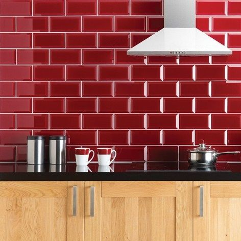 Red Glass Subway Tile | Subway tile backsplash, Subway ...