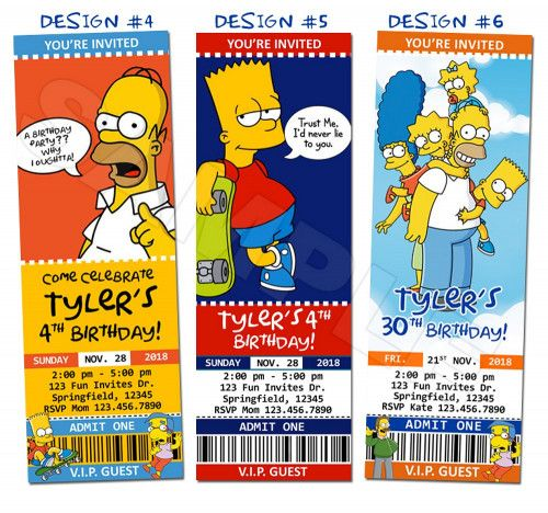 Simpsons Homer Birthday Party Ticket Invitations Custom - Printable