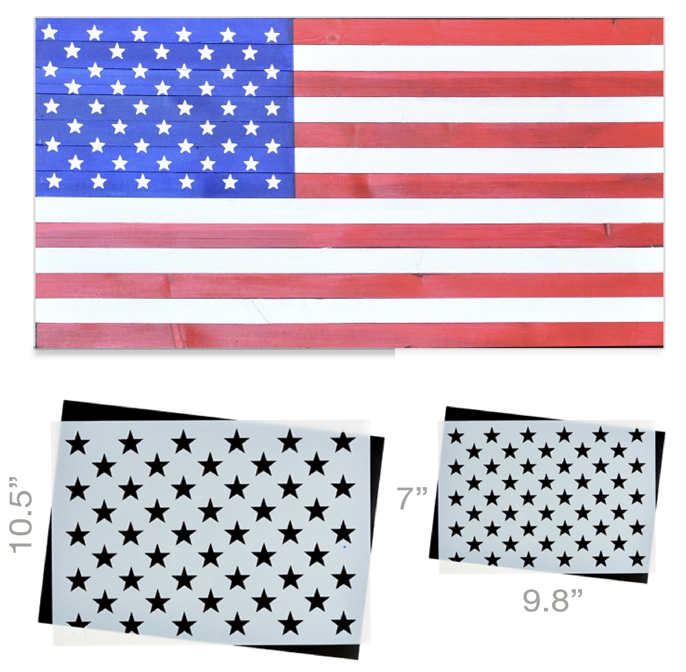 50 Star Stencil 2pk Ideal For Creating American Wood Flags Wood Flag Star Stencil Wood Flag Diy