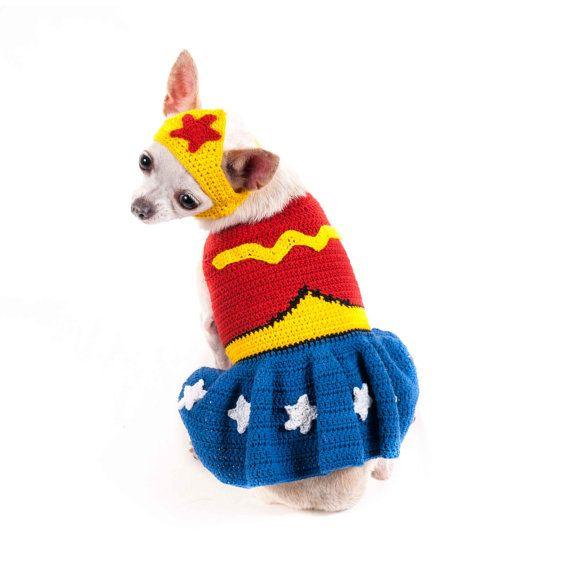 Maravilla mujer perro traje hecho a mano del ganchillo por myknitt ...