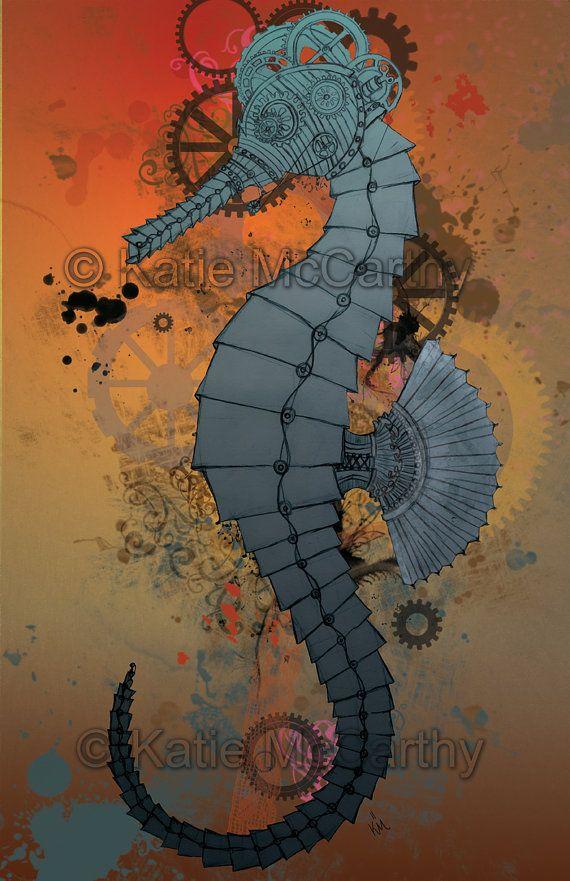 Steampunk print | Steampunk Seahorse High Quality Large ...