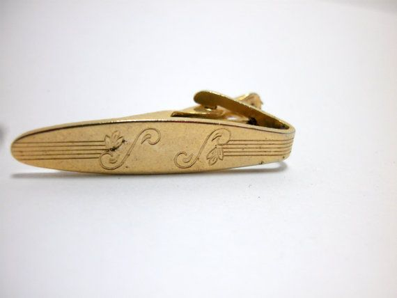 Vintage Gold Patent Tie Clip Tie Bar Mens Jewelry by MsMalleyCat