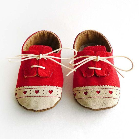 Baby Girl Shoes Red Canvas with Brogued Leather Soft by ajalor