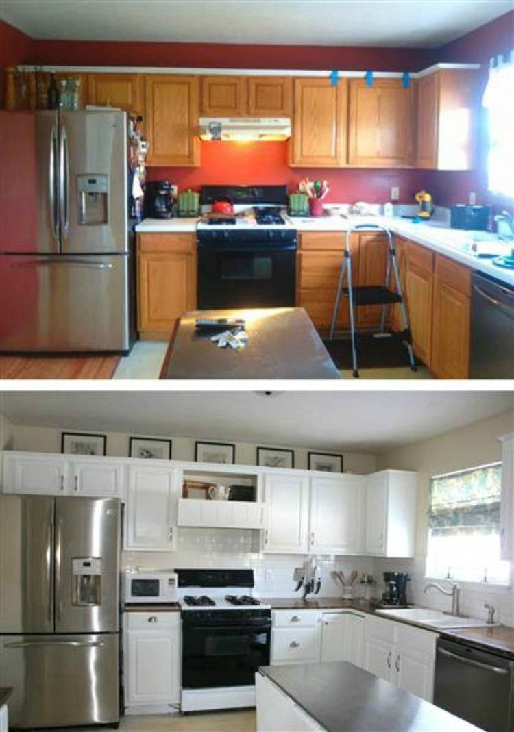 Before and after the cheap kitchen renovation