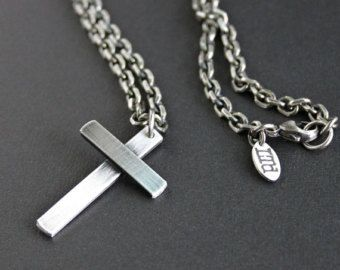 Reserved for alyssa mens silver cross necklace oxidized heavy mens large silver cross necklace heavy bevel chain aloadofball Images