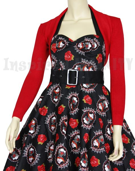 18f3840eb8fe8 50s Psychobilly Red Long Sleeve Cropped Cardigan Bolero - $29.95 Shrug  Cardigan, Cropped Cardigan,