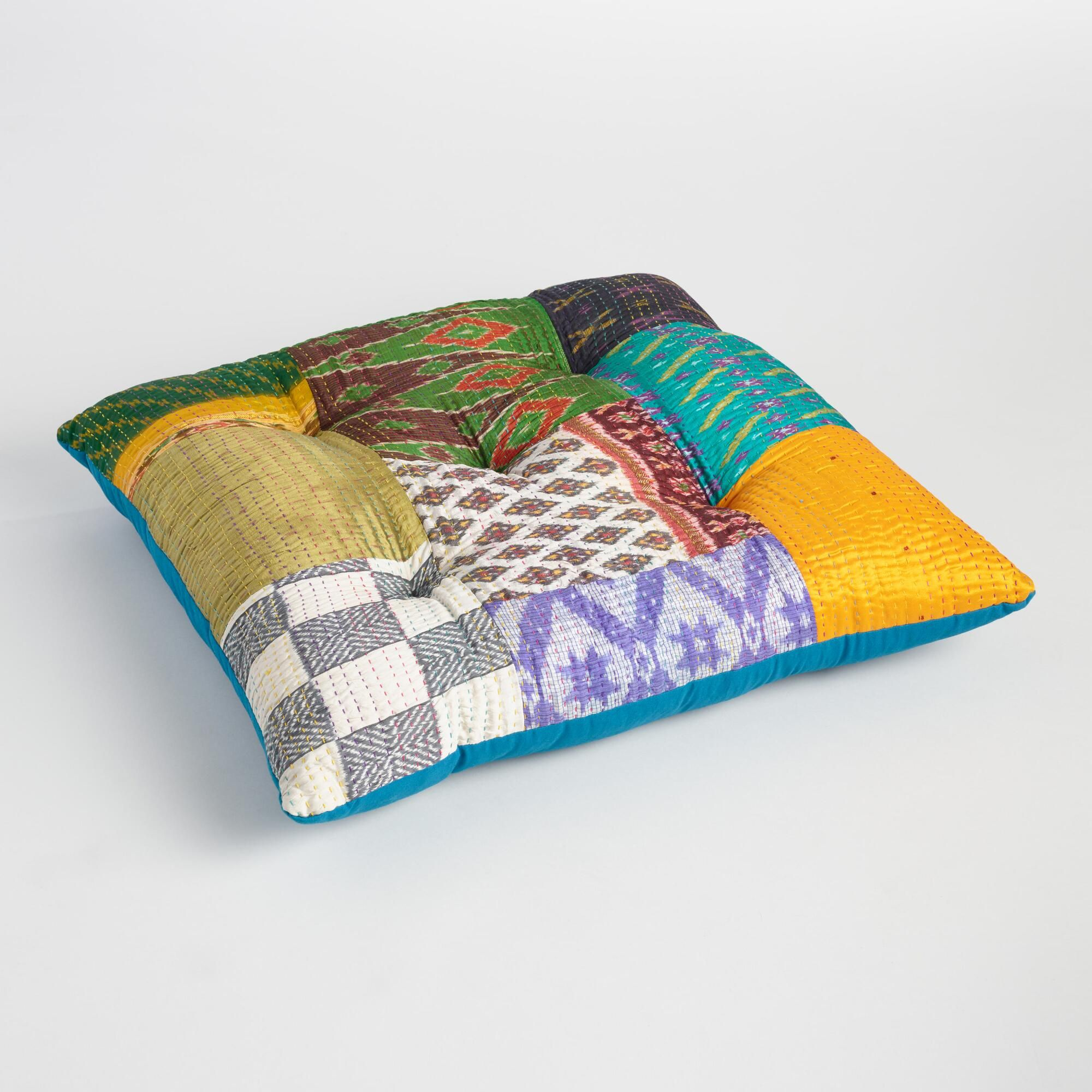 Crafted In India Of Recycled Silk Sari Remnants With A Patchwork Style Created Using Traditional Kantha Stich Embroidery Floor Pillows Floor Cushions Pillows