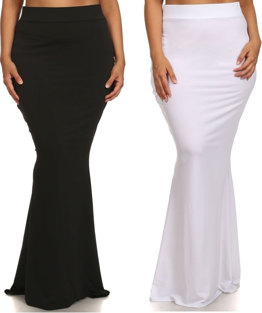 7c4ea229925 PLUS SIZE BLACK WHITE HIGH WAIST SLIM BODYCON FITTED MERMAID FLARE MAXI  SKIRT  MilanoUSA  Maxi