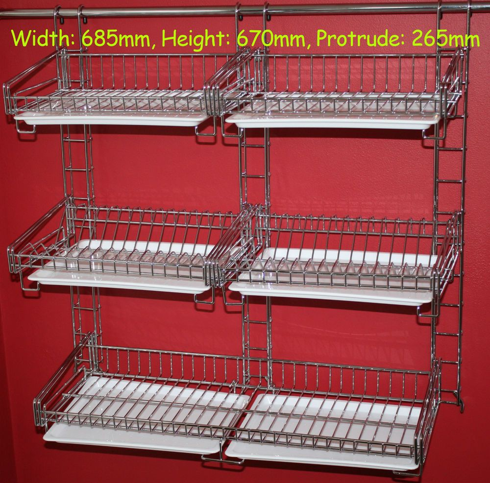 1 X 3 Tier Dish Drainer Rack For Hanging Rail 1 X Double Shelf Full Width Of The Dish Drainer Can Be Used To Dr Dish Drainers Hanging Rail Large Utensils