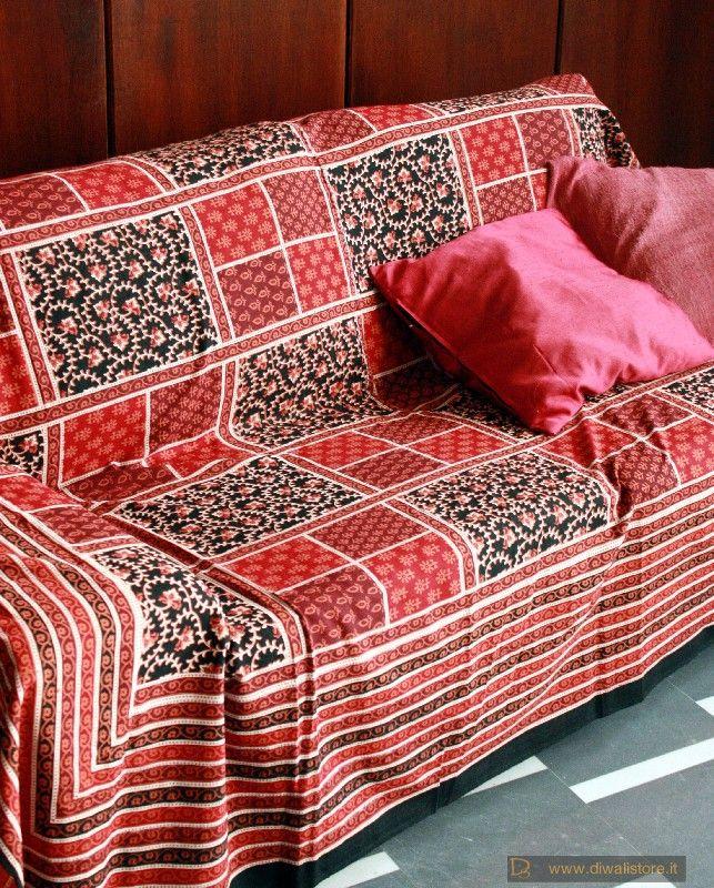 Telo copri divano etnico in cotone indiano stampato rosso - Telo copri divano ...