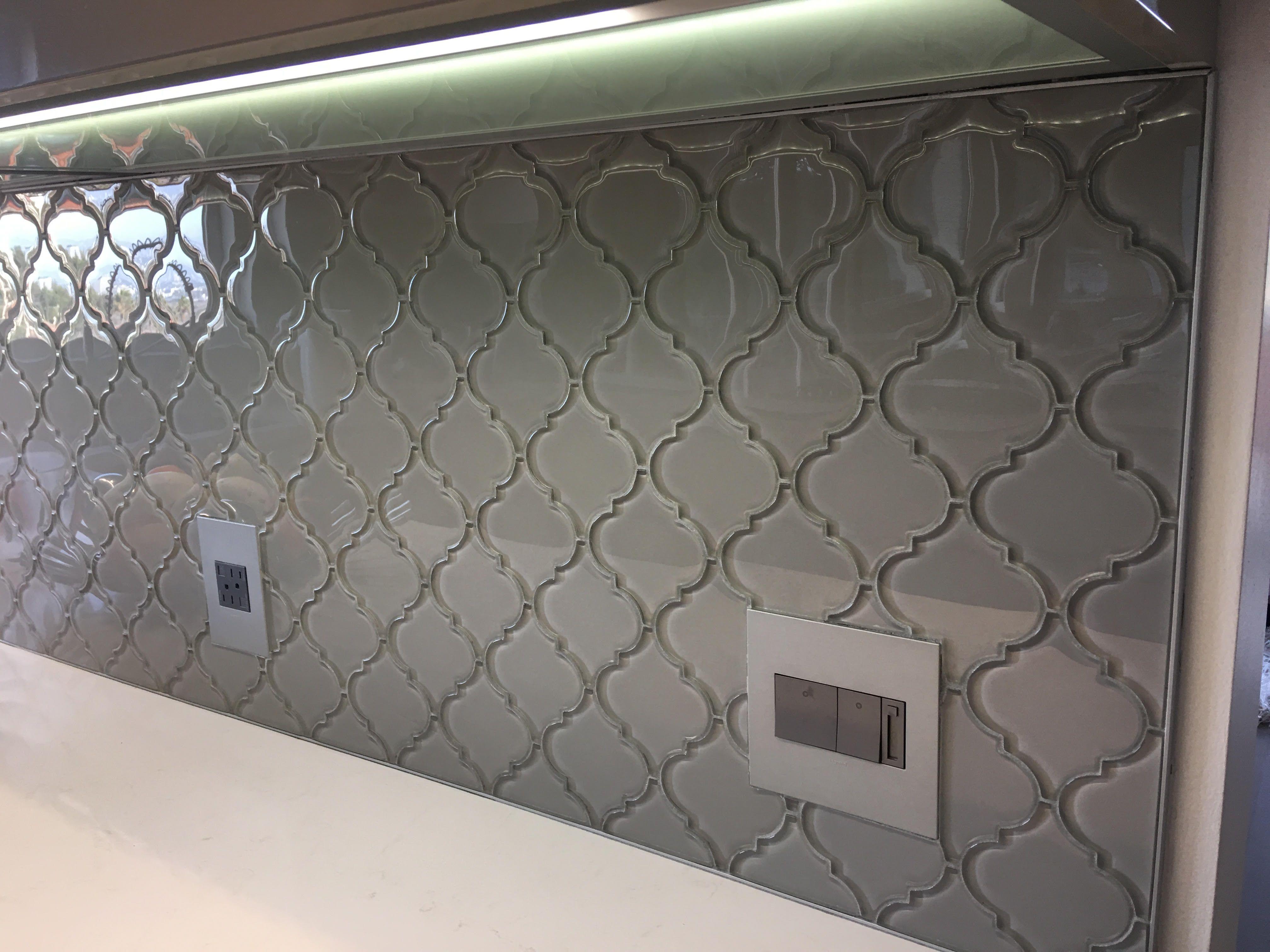 - Smoke Arabesque Glass Tile Arabesque Tile Backsplash, Arabesque