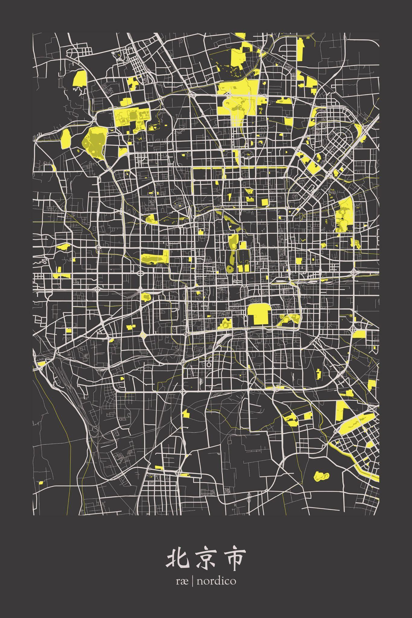 Beijing China Map Print Beijing China Map