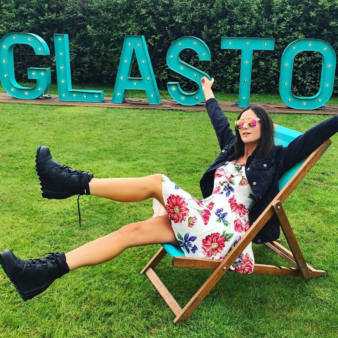 c5419b73ca0 Lilah Parsons in the SOREL Joan Rain Wedge at Glastonbury.