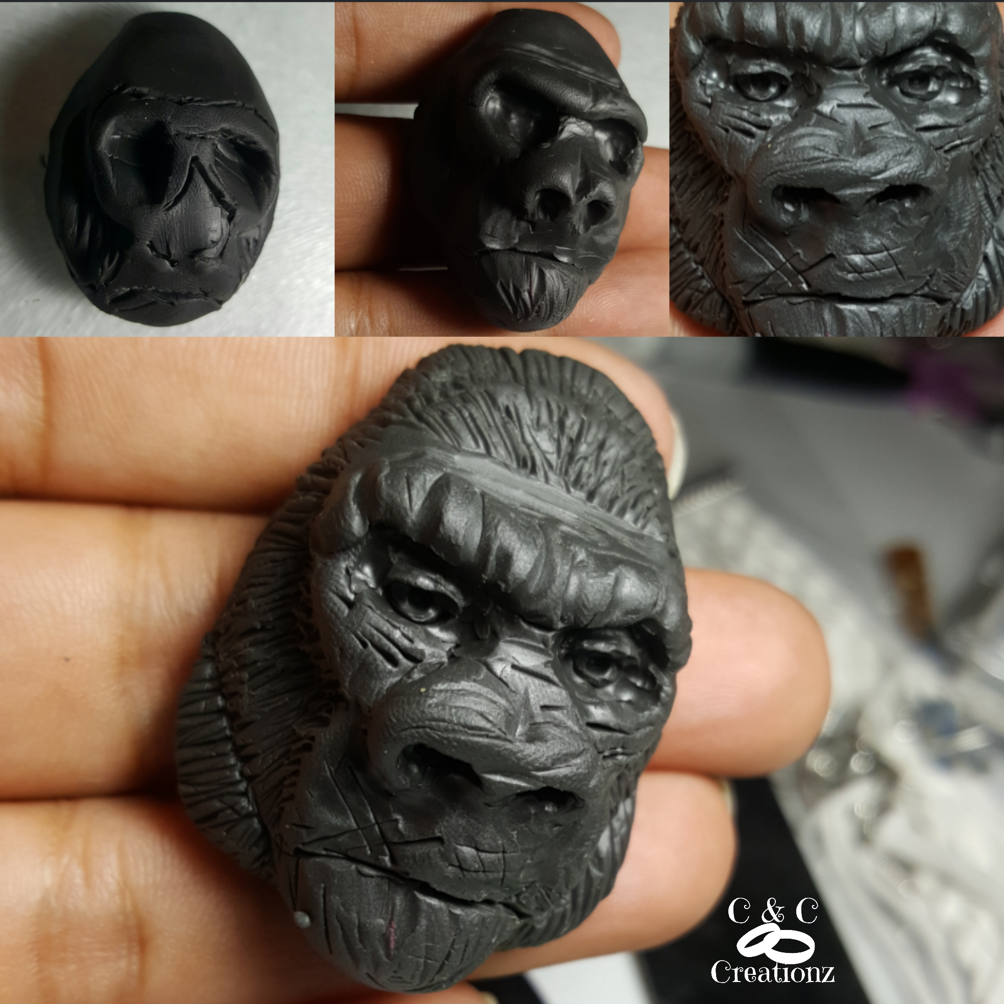 Gorilla polymer clay pendant completely handtool created no mold