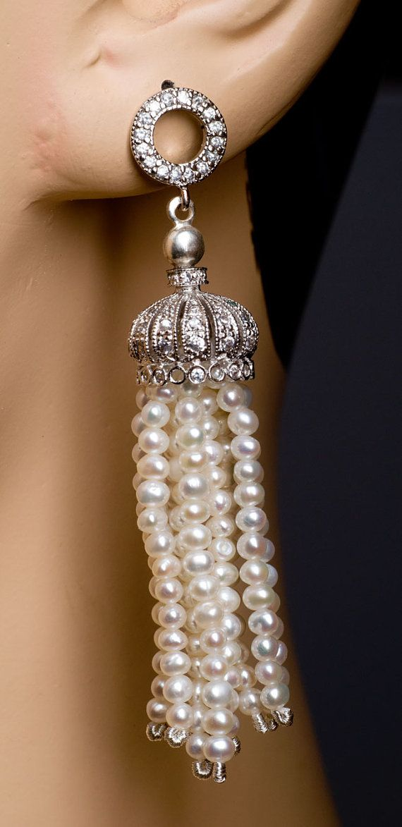 Edwardian Seed Pearl Tassel Earrings by Wellstrung on Etsy, $137.00 Great inspiration for making jellyfish with pearl tenacles.