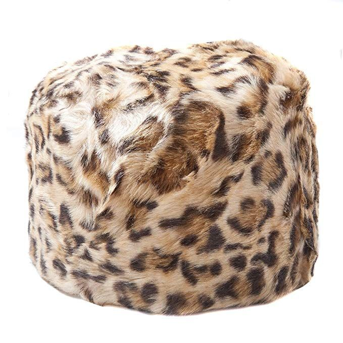 91108defc23 Accessoryo Women s Leopard Print Faux Fur cossack Style Russian Hat ...