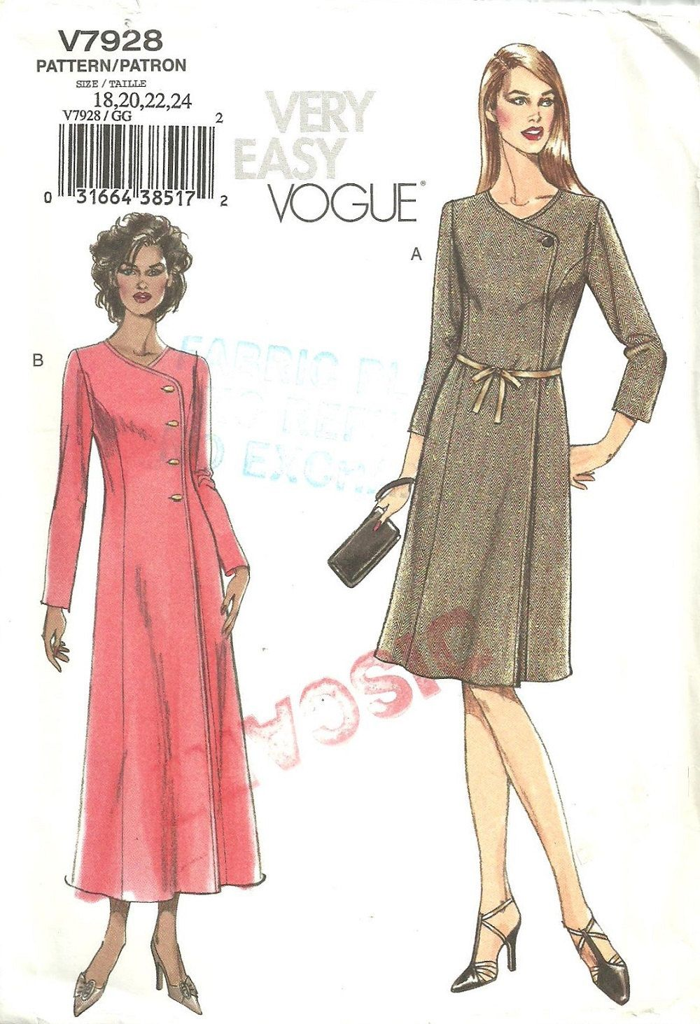 Vogue 7928 very easy sewing pattern wrap by studiogpatterns vogue 7928 very easy sewing pattern wrap dress sizes 18 20 22 24 jeuxipadfo Images