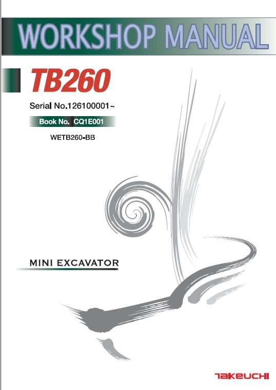 Takeuchi Tb260 Compact Excavator Service Manual Excavator Manual Repair Manuals