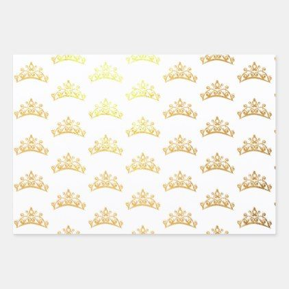 Pageant Crown Gold Foil Wrapping Paper   Zazzle.com