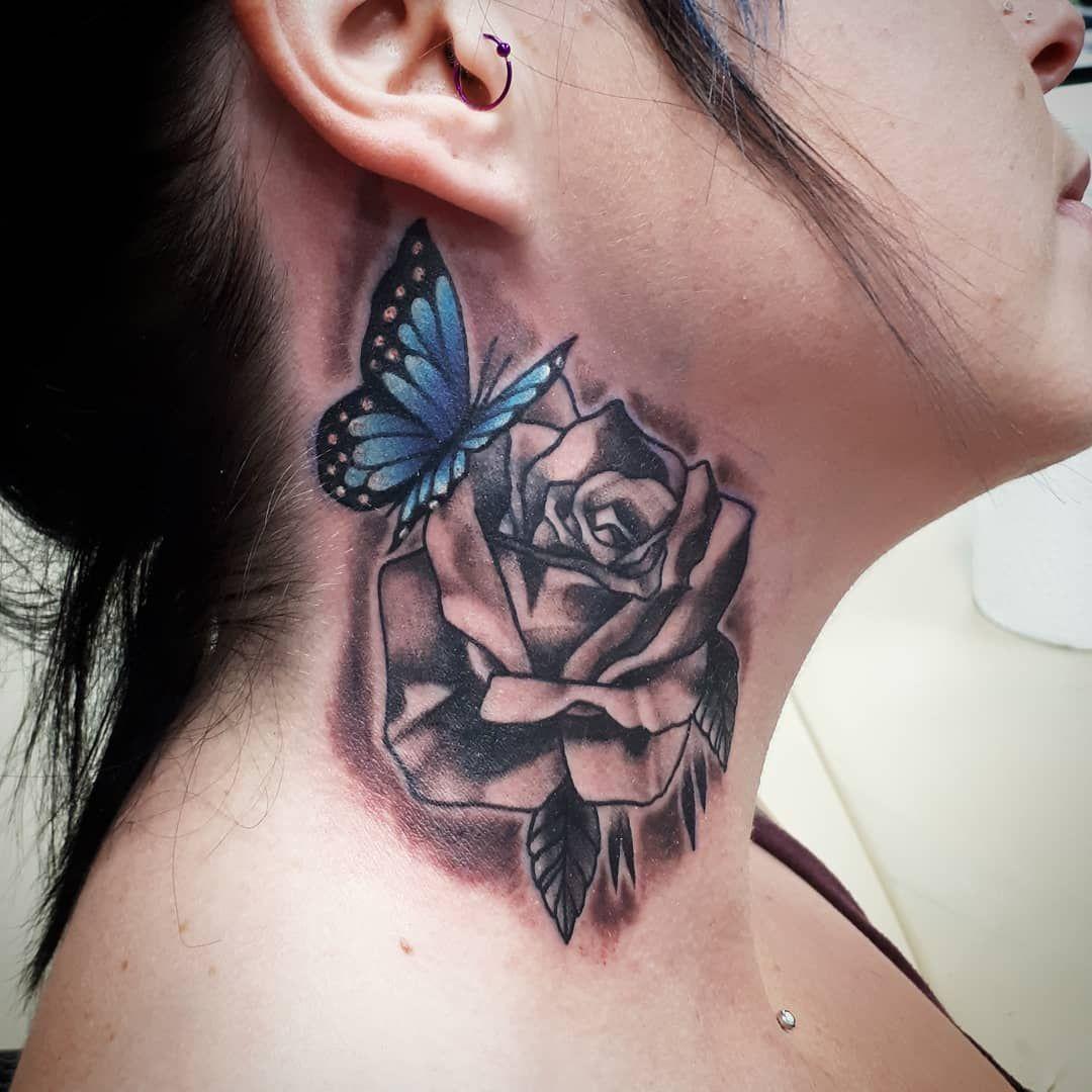 Hals Tattoo Schmetterling Rose #tattotrends #pinterest #