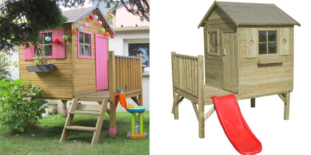 cabane enfant jardin sur pilots avec toboggan Déco enfants bébés - Maisonnette En Bois Avec Bac A Sable