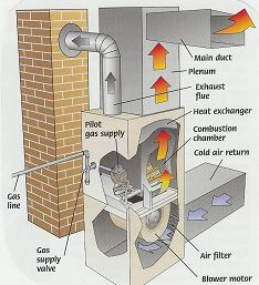 gas forced-air furnace diagram (shows direction of airflow of hot and cold  air)