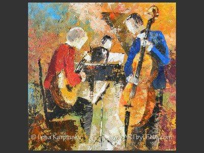 Jazz Guitar Trio - original canvas painting by Lena