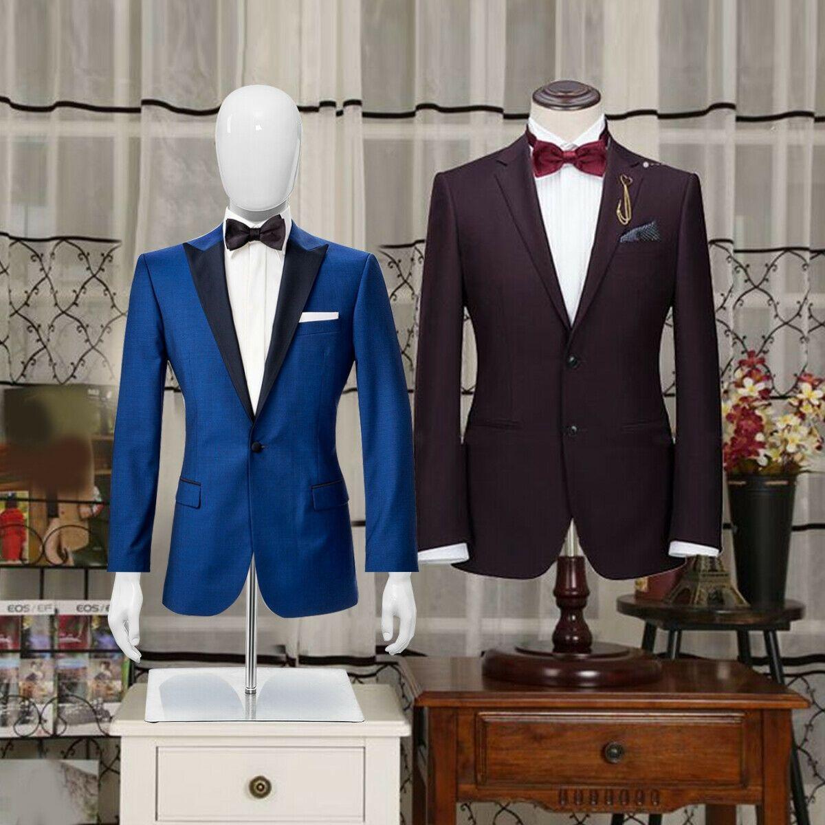 Realistic Male Mannequin Plastic Half Body Head Turn Dress Form Display Base