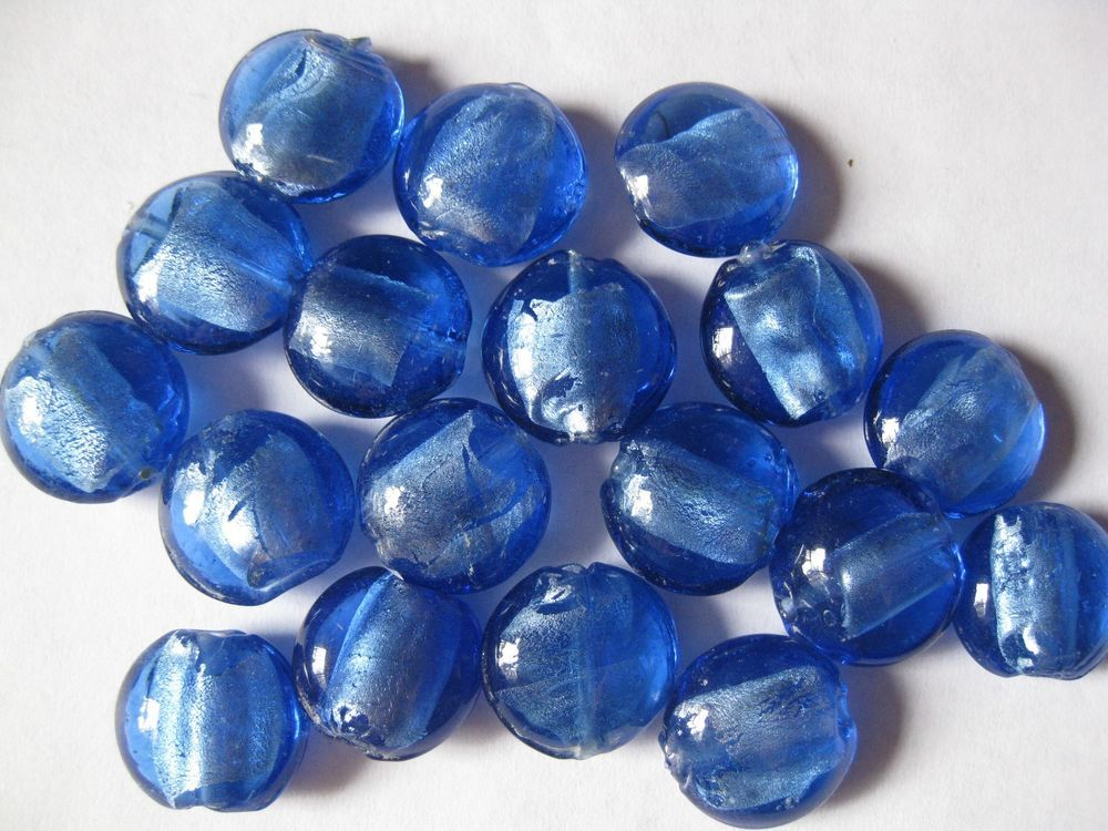 Check out our loose bead selection! Blue Lampwork Glass Loose Beads 18 Pcs 15mm x 9mm Lentil Shape Jewelry Making  #Lampwork