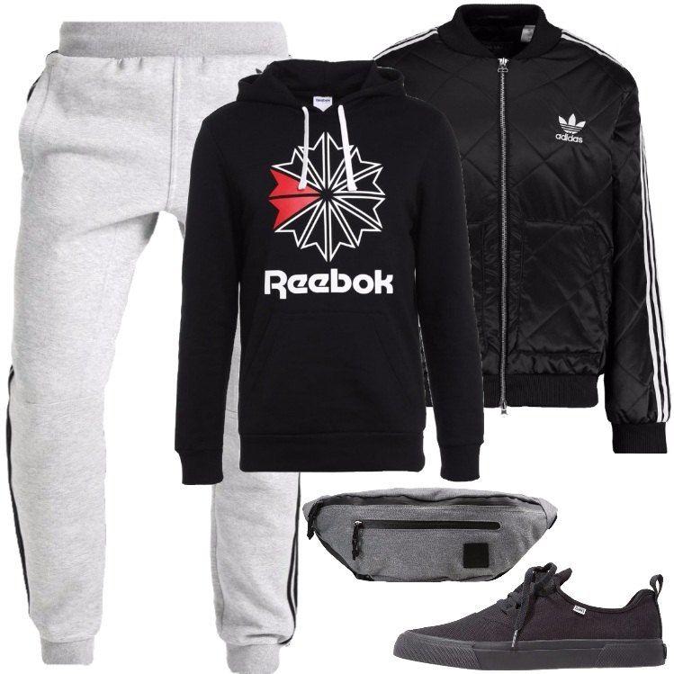 pantaloni adidas e felpa