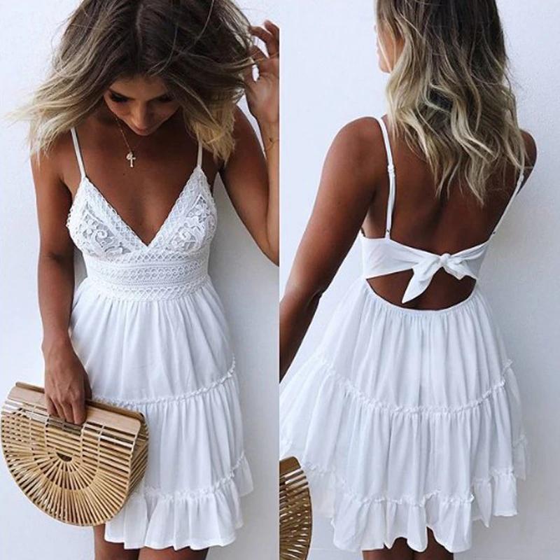 Vestidos y Faldas – Verano mujeres encaje vestido Sexy espalda descubierta cuello en V playa vestidos 2019 moda sin mangas espagueti Correa blanca Casual Mini vestido de sol