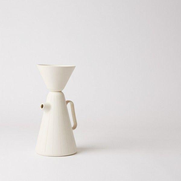 Sucabaruca Coffee pot and funnel / white designed by Luca Nichetto and Lera Moiseeva made by Alissa Coe