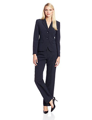 Le Suit Women's Pinstripe Jacket and Pant Set, Navy/Preiwinkle, 6 ...