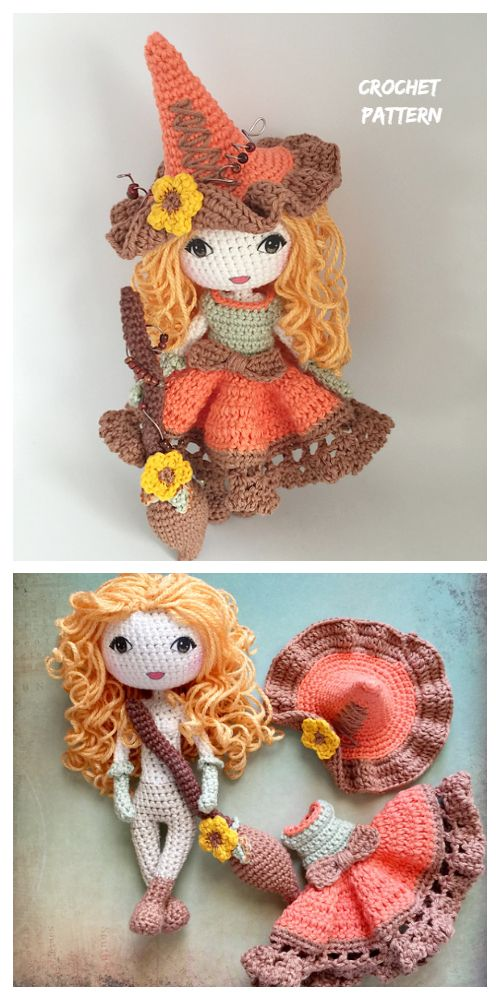 Halloween Crochet Witch Doll Amigurumi Free Patterns & Paid - DIY Magazine