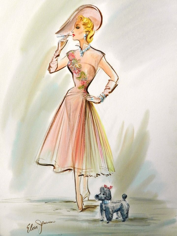 Signed Elois Jenssen - Costume Sketch for Zsa Zsa Gabor in We're Not Married