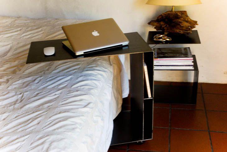 Table petit d jeuner au lit cm acier noirci et cir apr s traitement anti for Table de petit dejeuner au lit