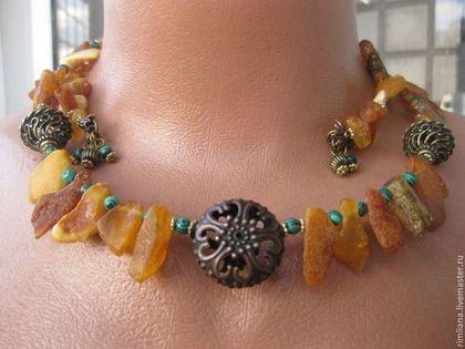 """Ожерелье """"Ярило"""" - природный янтарь. - украшения,украшения ручной работы"""