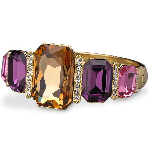 Gold-Plated Smoky Topaz, Amethyst, & Pink Crystal Cuff...