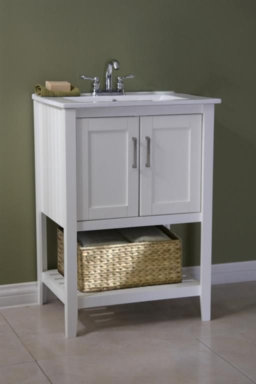 Classic 24 Inch Bathroom Vanity White Finish With Basket With Images White Vanity Bathroom 24 Inch Bathroom Vanity Traditional Bathroom Vanity