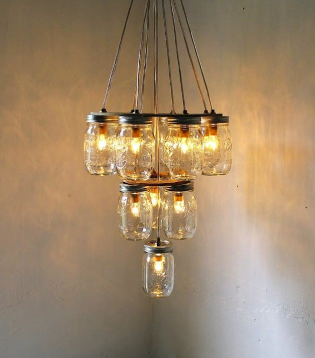 Mason jar chandelier diyi want this do it yourself diy w daddy dining room 3 tier upside down wedding cake mason jar chandelier mason jar lighting handcrafted upcycled bootsngus hanging pendant light aloadofball Image collections