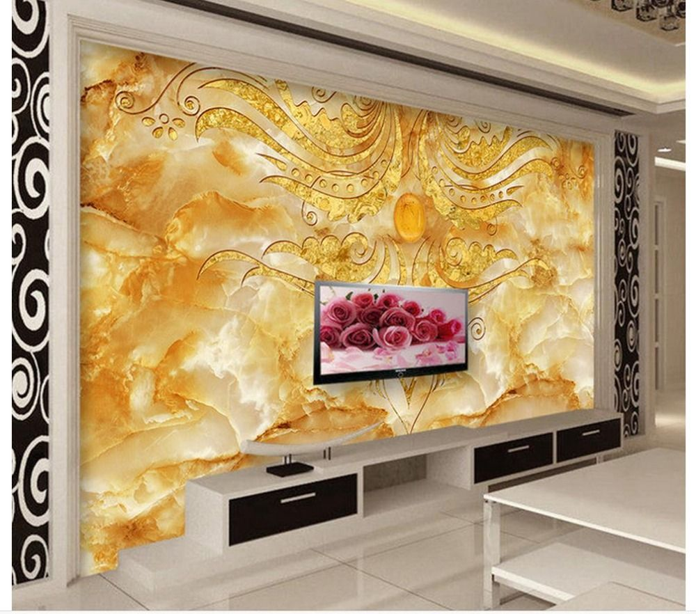3d wall murals wallpaper Golden Flower Stone Marble Backdrop Wall ...