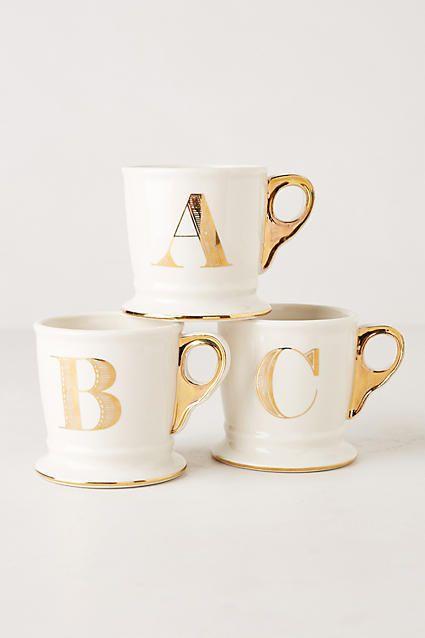 Anthropologie Limited Edition Golden Monogram Mug