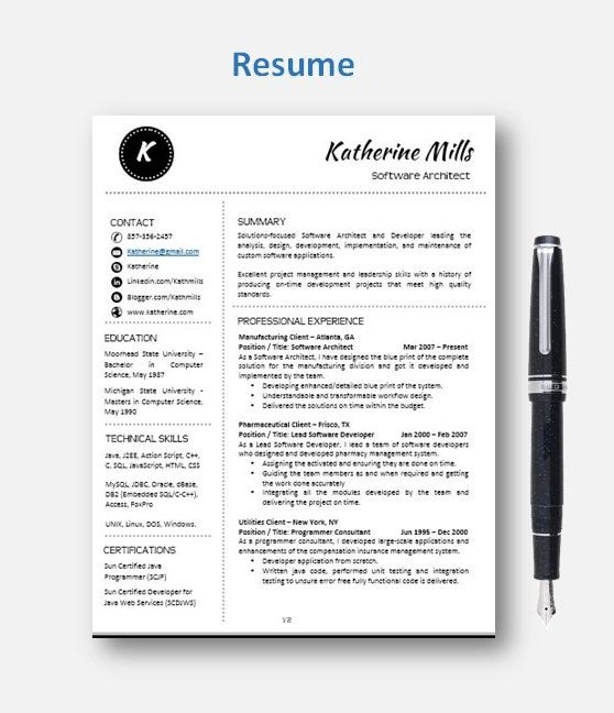 CV Template Resume Template with add-on for extra pages, Cover and