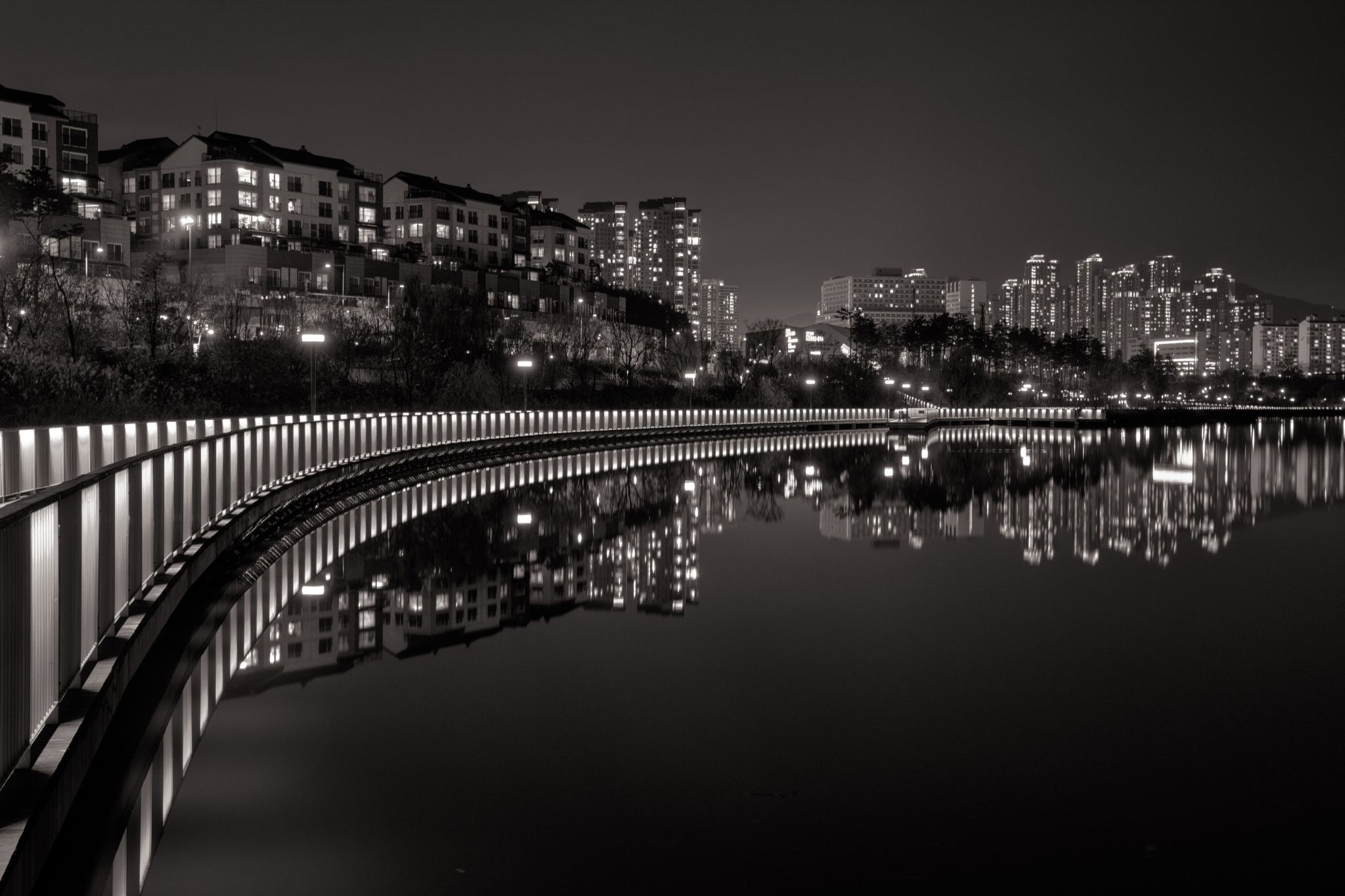 Night of lakeside by Joonyoung Kim on 500px -- am not a great fan of B&W photos; This photograph is a superb example of so many elements... lovely sideways arch of geometric interest, reflection separated from image which is reflected (great aspect), various sections with different light sources, hardness and softness... love it so much!
