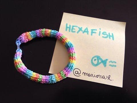 ▶ D.I.Y. pulsera de gomitas HEXAFISH con telar RainbowLoom. (Difícil) [tutorial en español] - YouTube